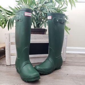 Hunter Original Tall Rain Boots Rubber Green